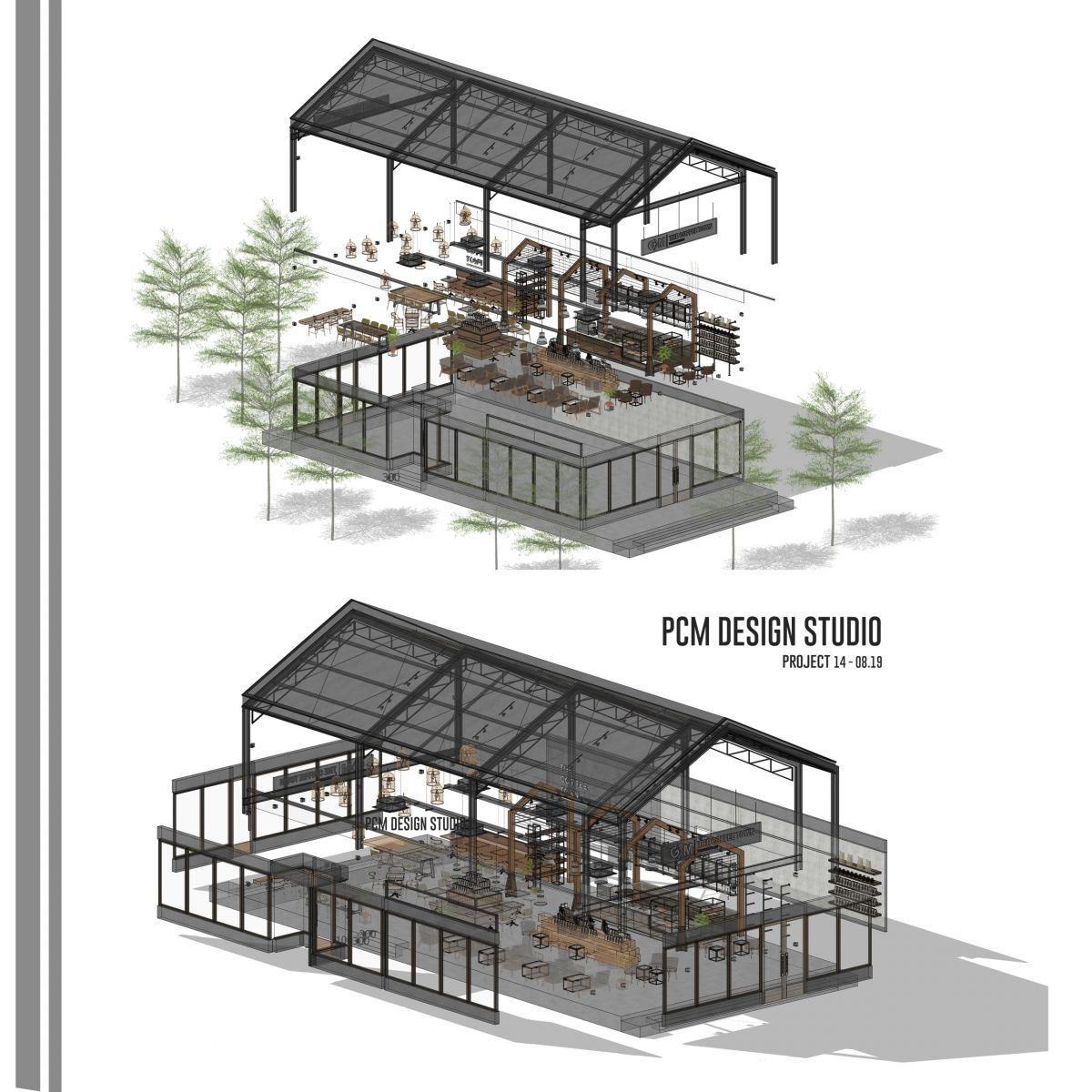 bản vẽ layout thiết kế 3d quán cafe diện tích 970m2