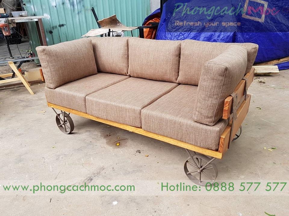 bộ ghế sofa cafe băng dài phong cách vintage