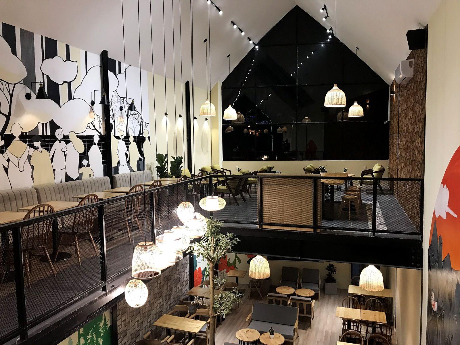 không gian nội thất quán cafe bờm bờm