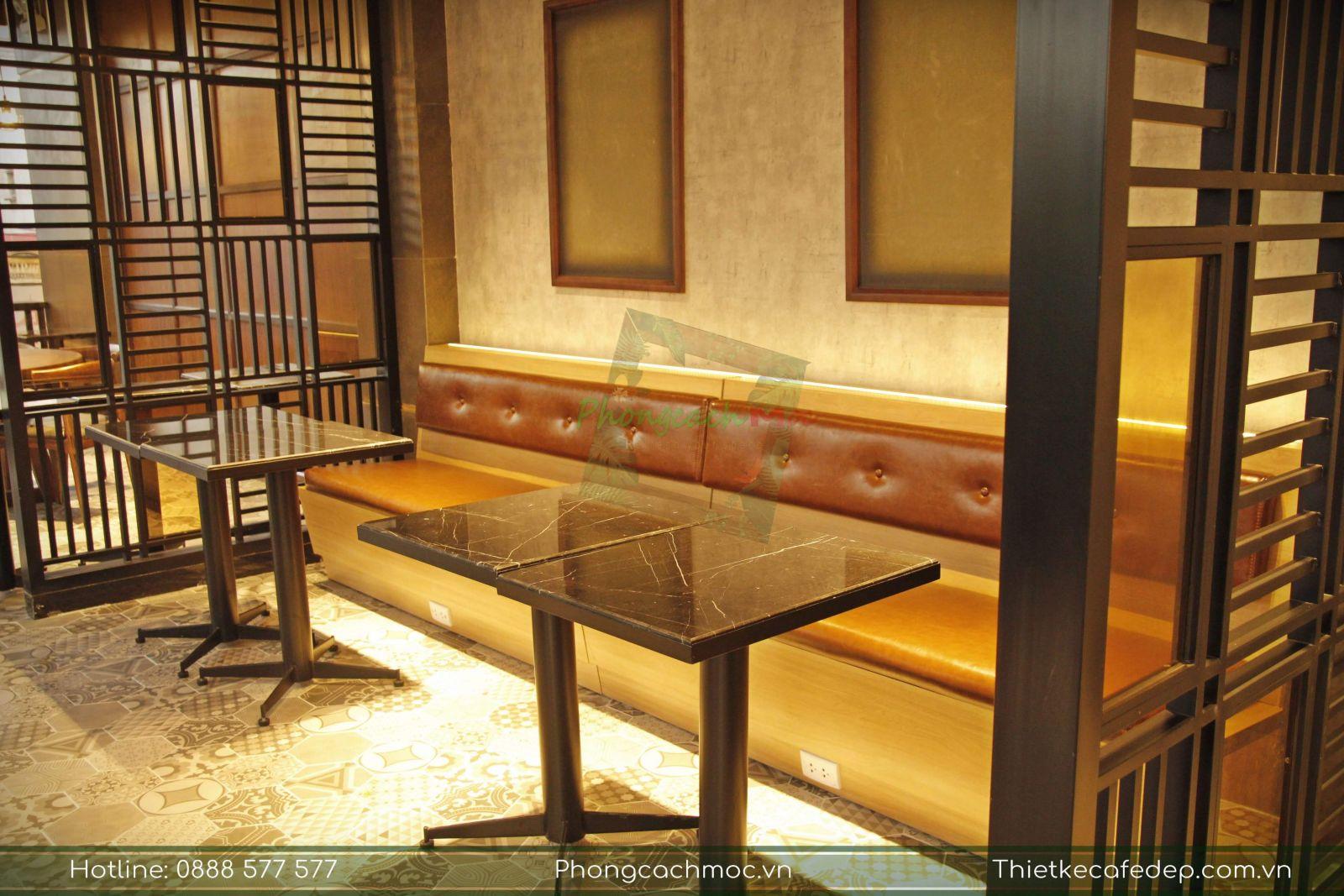 bộ ghế sofa áp tường quán cafe phúc long