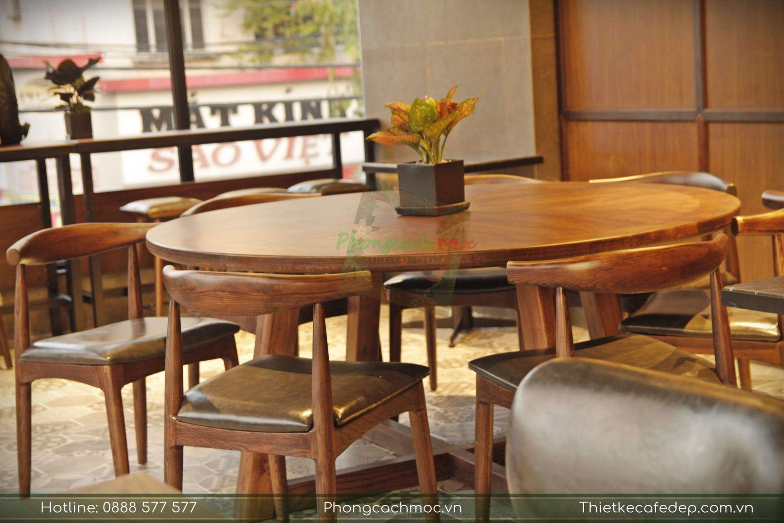 bộ bàn nhóm tròn nổi bật nội thất phúc long coffee & tea