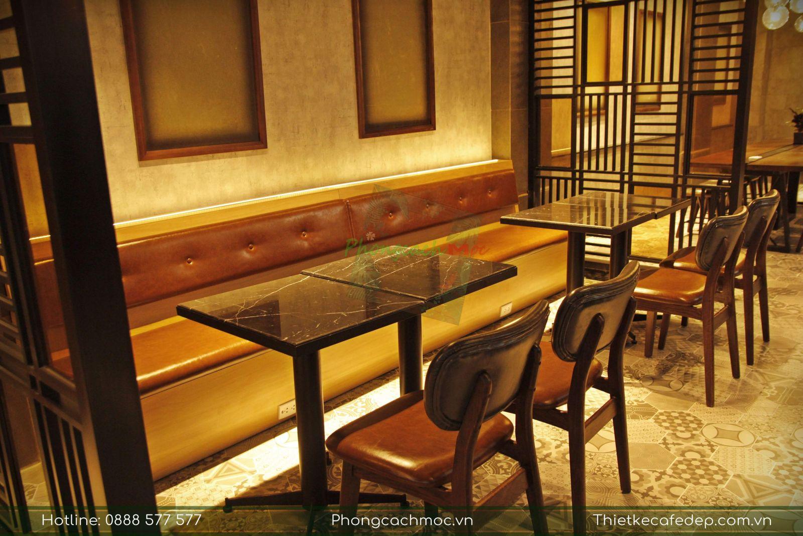 bộ ghế sofa áp tường kết hợp ghế cafe đơn pcm