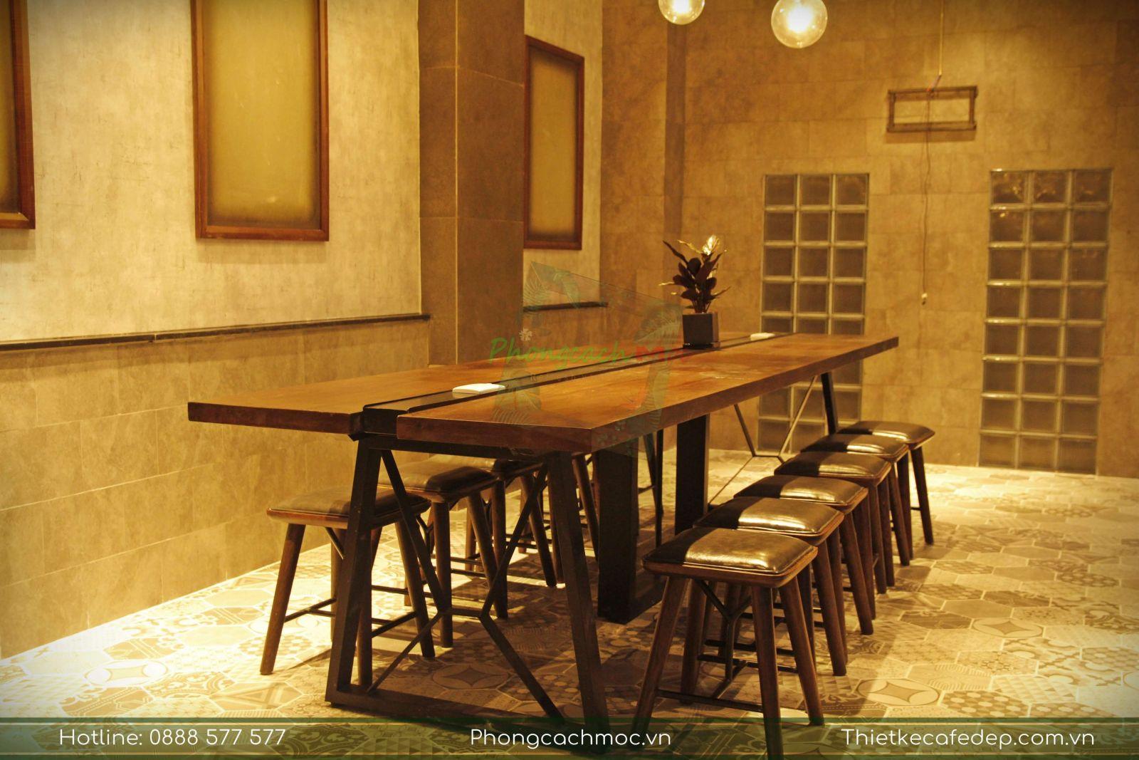 bộ bàn ghế vintage được bày trí nội thất quán cafe