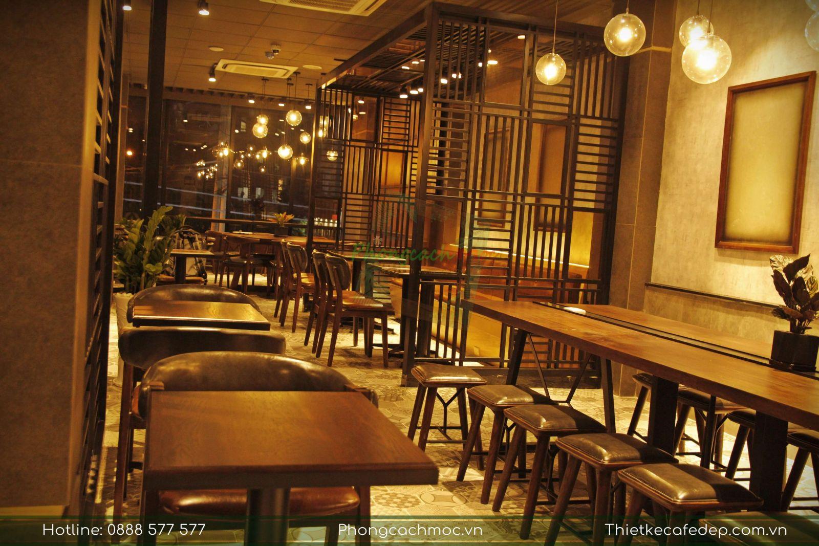 không gian nội thất tầng 2 quán cafe