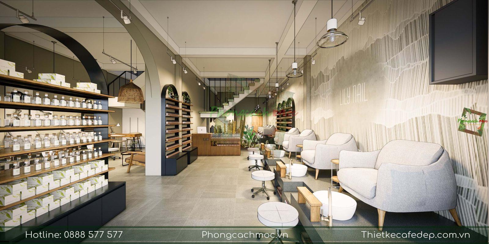 thiết kế không gian nội thất tiệm lily nail