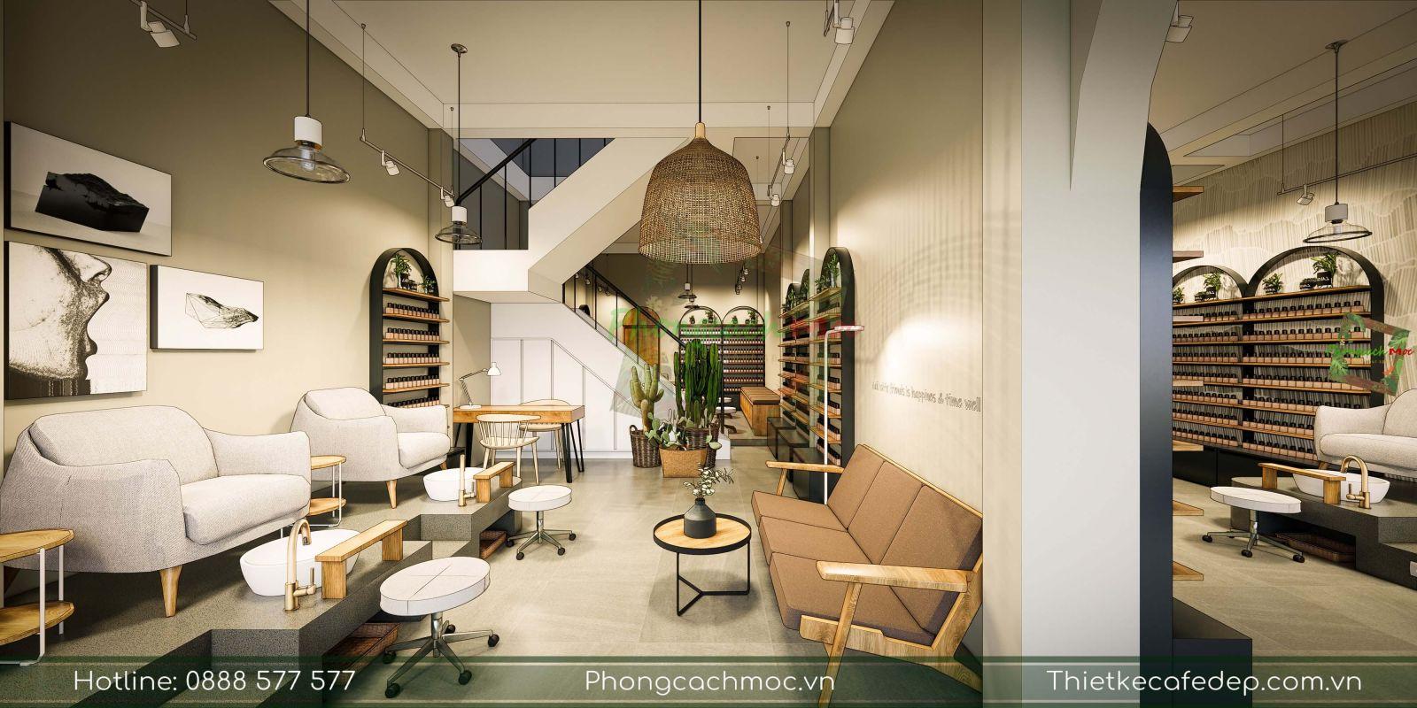 thiết kế tiệm nail chủ đề phong cách contemporary