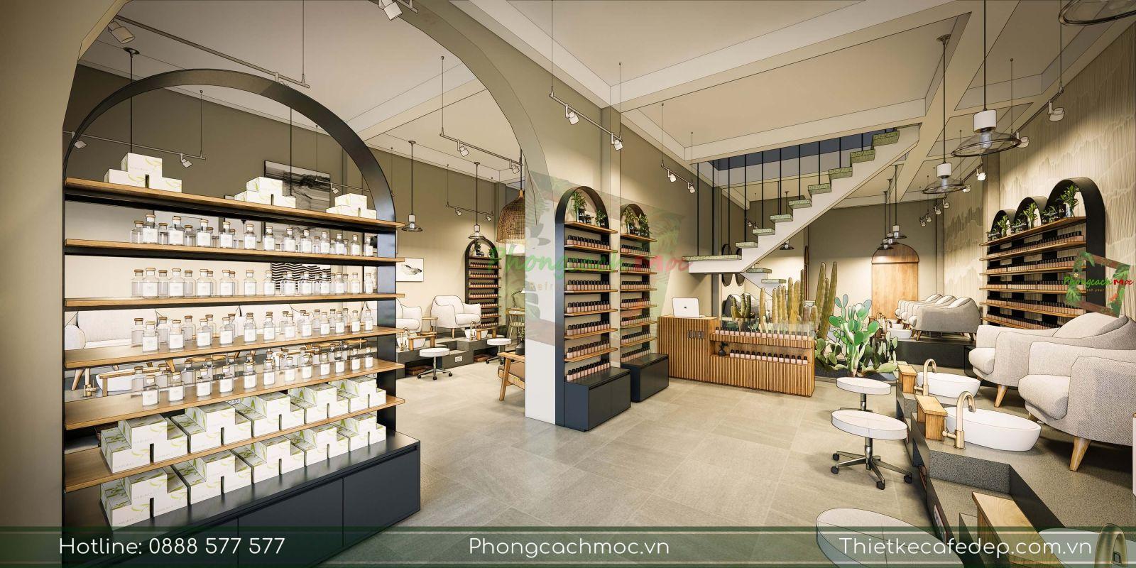 thiết kế không gian nội thất tiệm nail diện tích 150m2