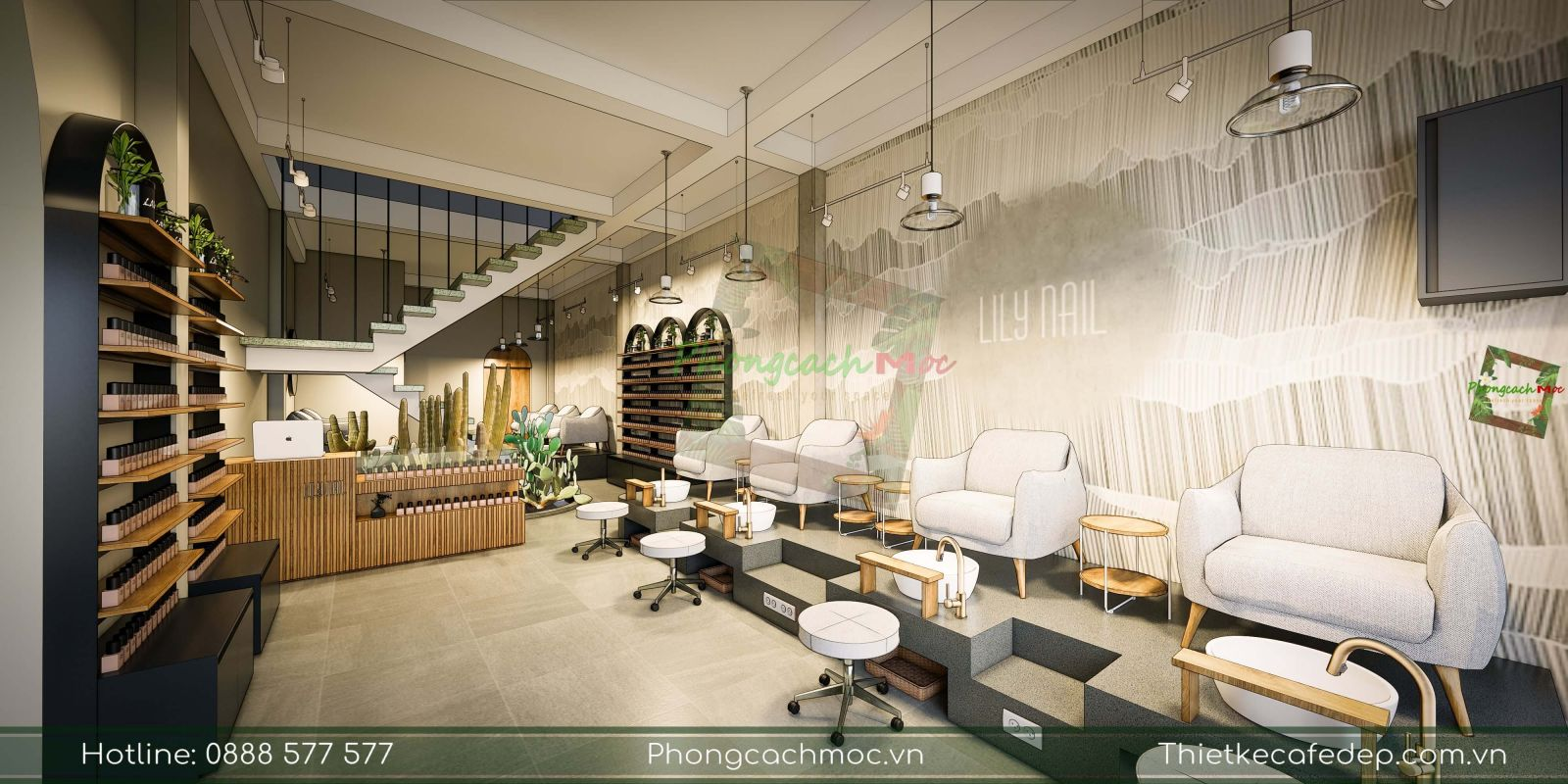 thiết kế tiệm nail chủ đề contemporary