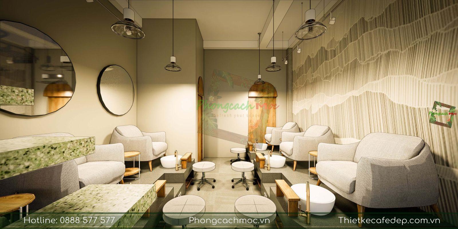 thiết kế tầng 1 tiệm nail diện tích 150m2