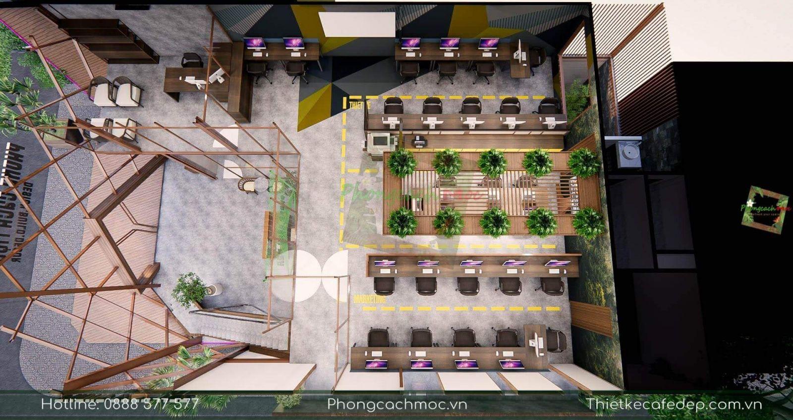 thiết kế layout tầng 2 dự án pcm workshop