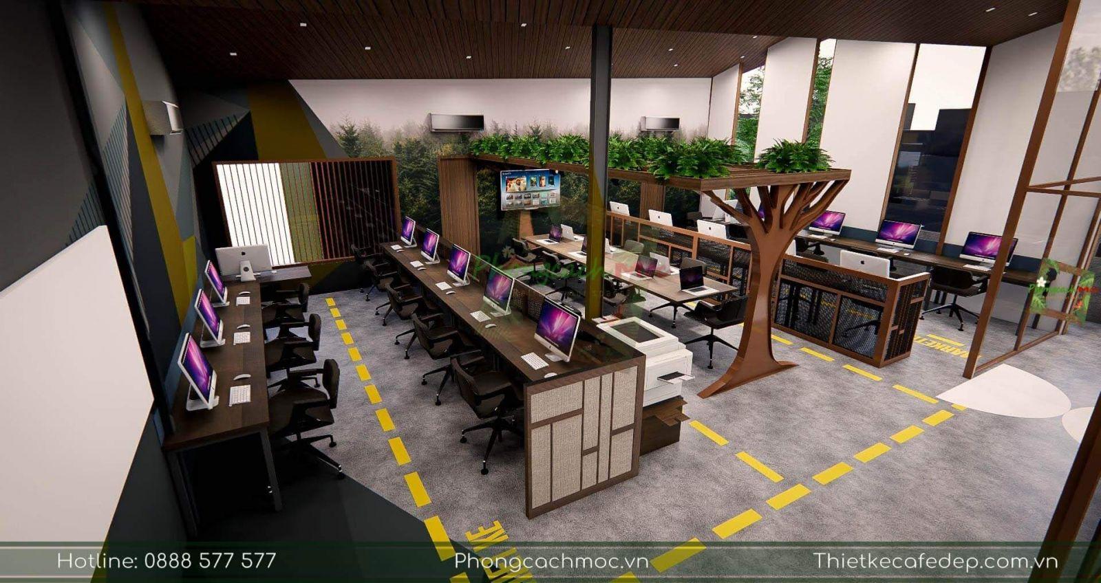 thiết kế nội thất văn phòng sử dụng chủ đề industrial style