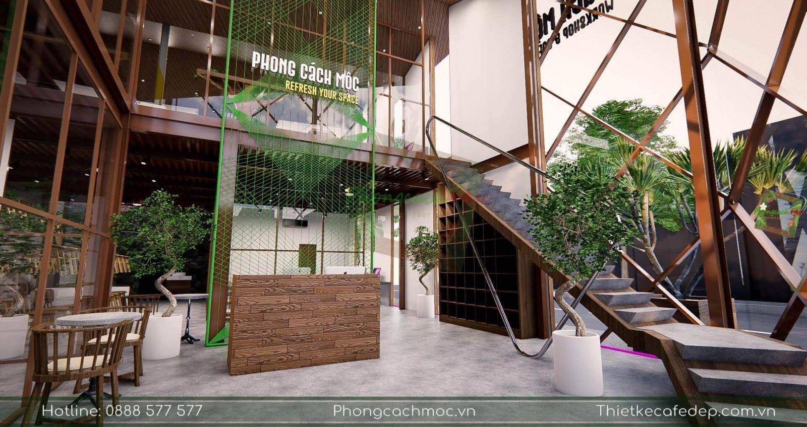 thiết kế không gian tầng 1 văn phòng pcm