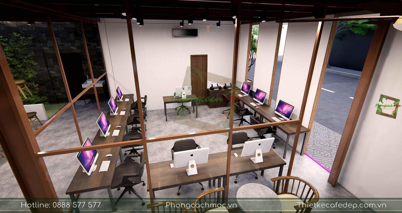 thiết kế không gian tầng 2 dự án pcm workshop