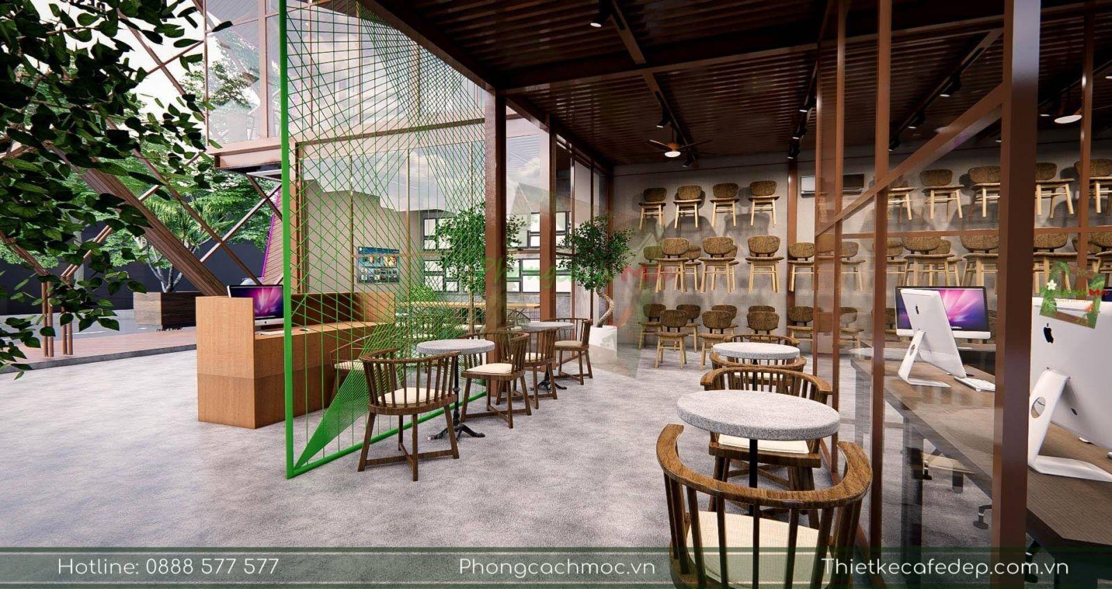 bày trí nội thất tầng 1 dự án pcm workshop