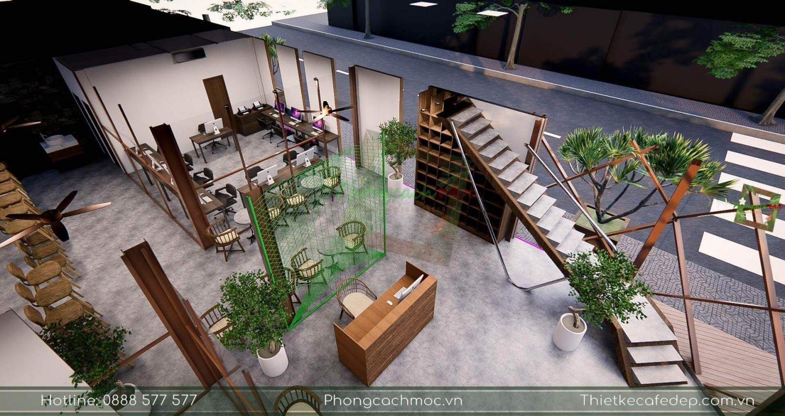 thiết kế không gian văn phòng chủ đề industrial
