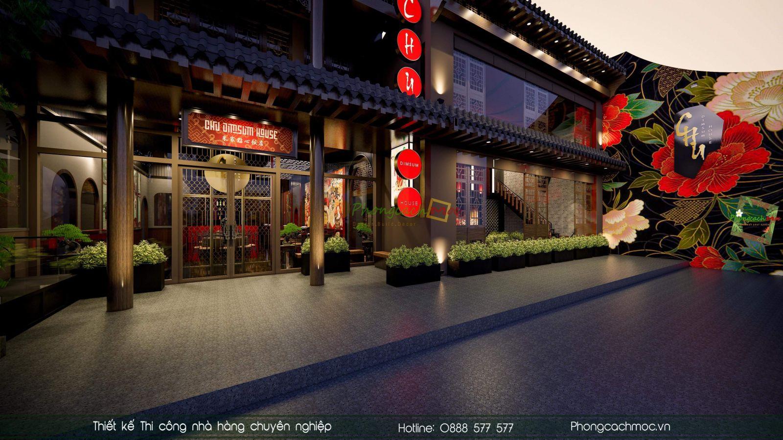Mẫu thiết kế mặt tiền nhà hàng Hong Kong Chu Dimsum House