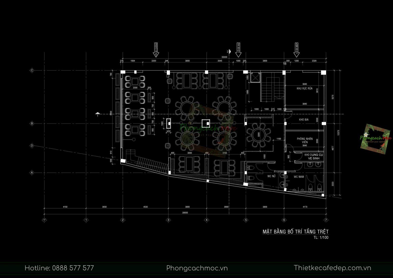 layout thiết kế nhà hàng trung hoa  tầng trệt