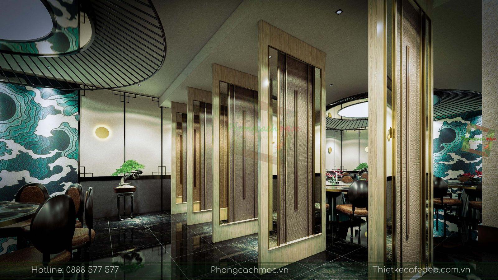 thiết kế nhà hàng trung hoa - nội thất phòng vip 1 - vách ngăn di động