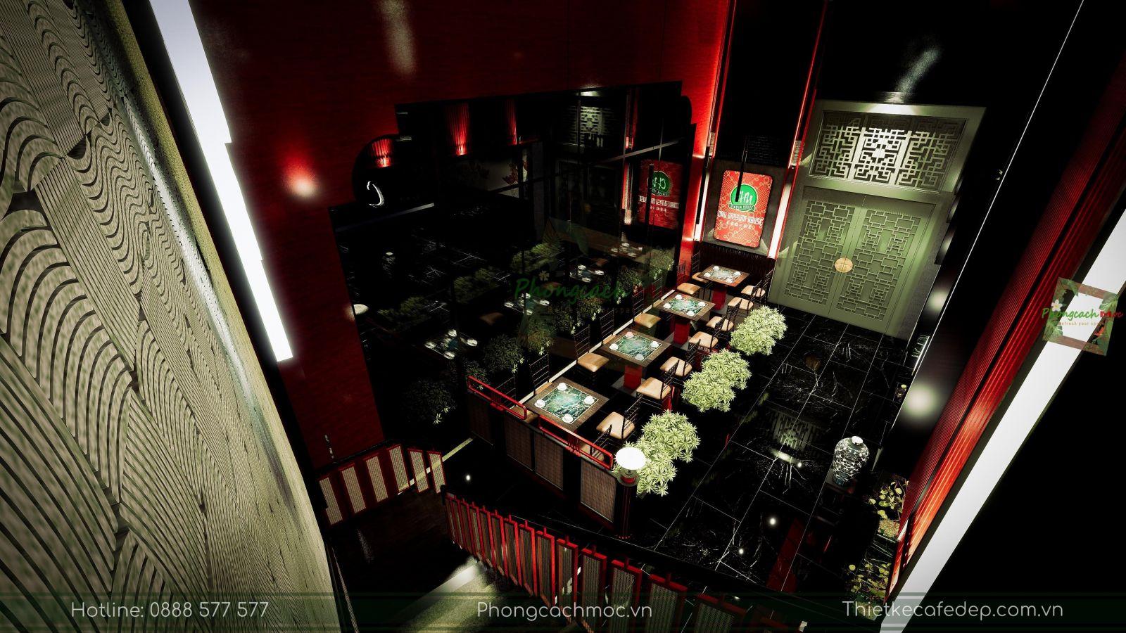 thiết kế nhà hàng trung hoa - chu dimsum house - phần sảnh chính - 2