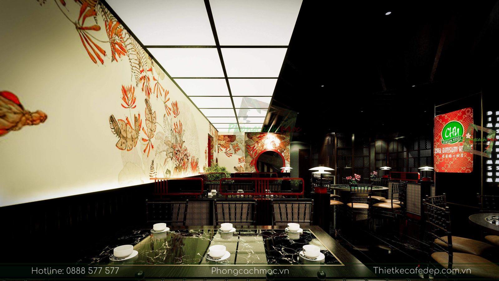 thiết kế nhà hàng trung hoa - không gian tầng trệt - nét văn hóa độc đáo