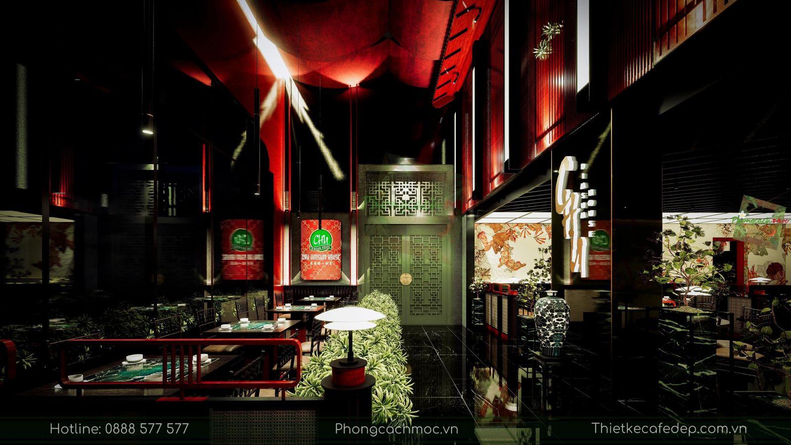 thiết kế nhà hàng trung hoa - không gian tầng trệt - nét văn hóa độc đáo - 5