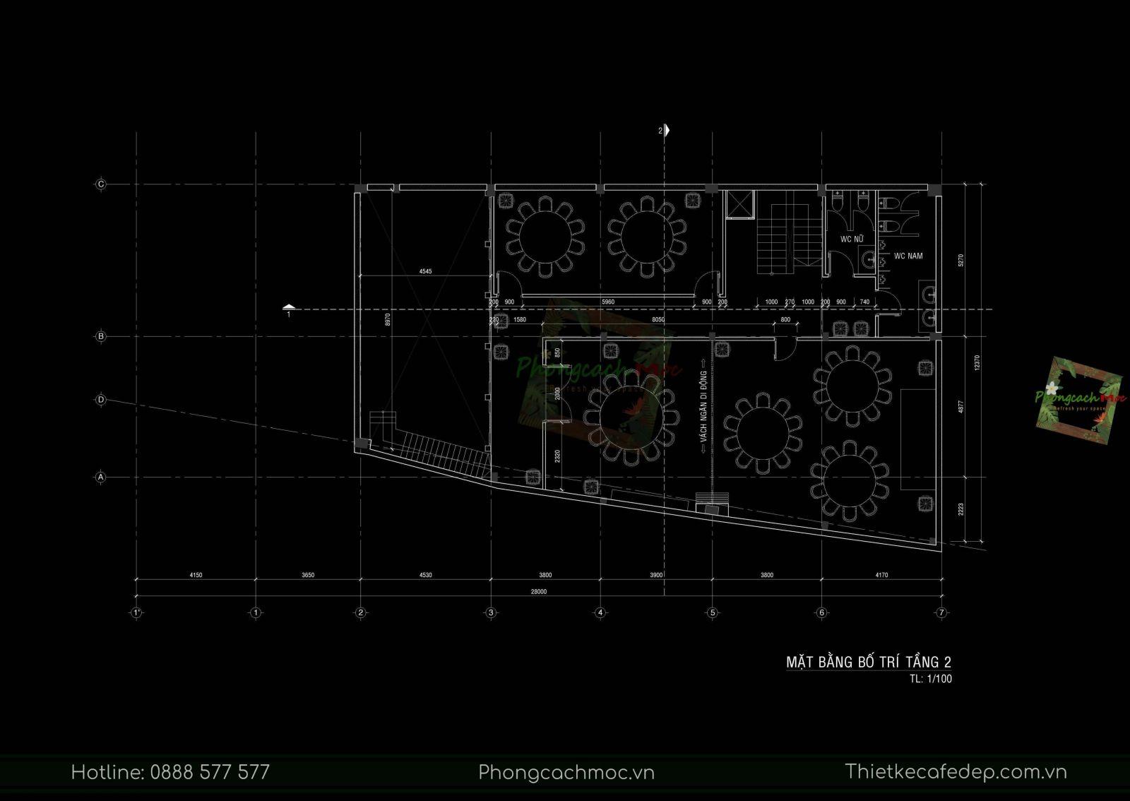layout thiết kế nhà hàng trung hoa - chu dimsum house lầu 1