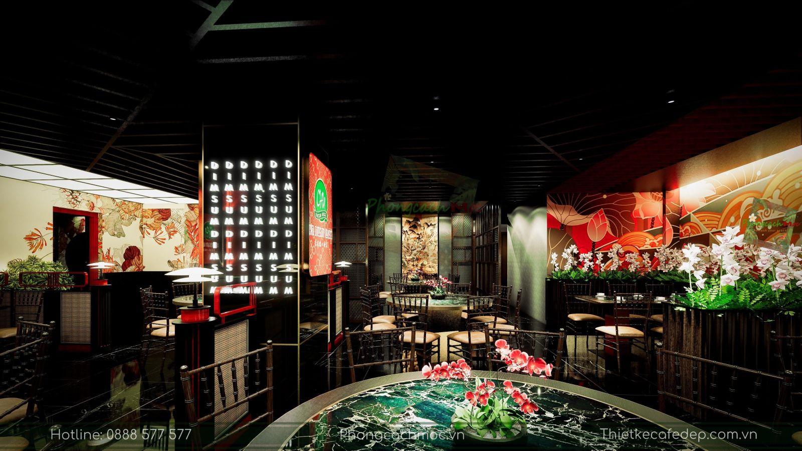 thiết kế nhà hàng trung hoa - không gian tầng trệt - nét văn hóa độc đáo - 3