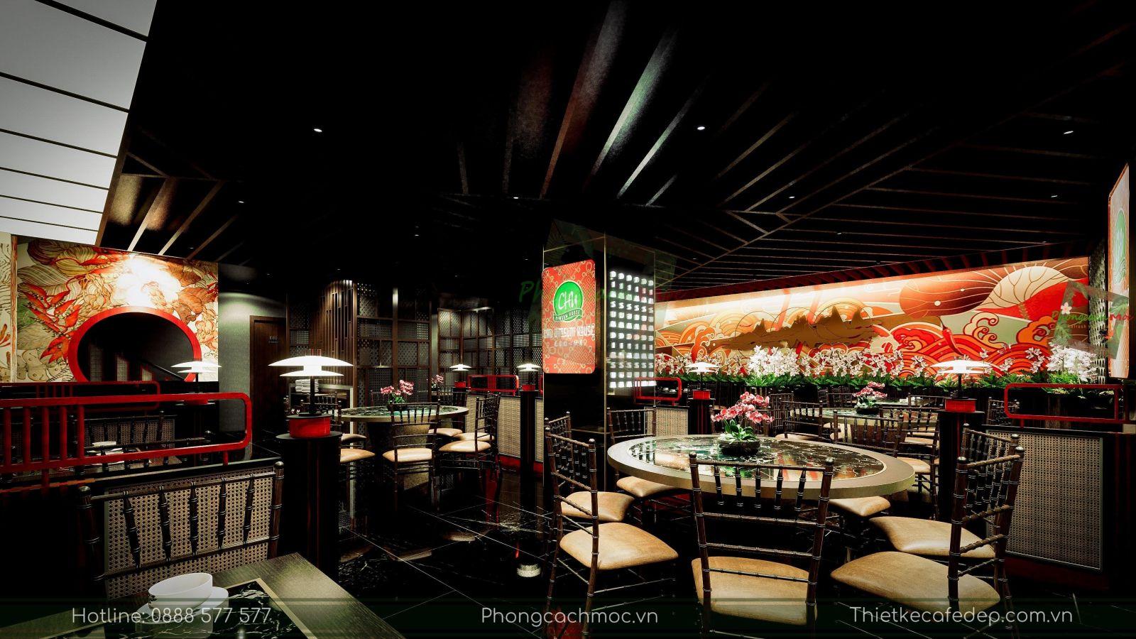 thiết kế nhà hàng trung hoa - không gian tầng trệt - nét văn hóa độc đáo - 7