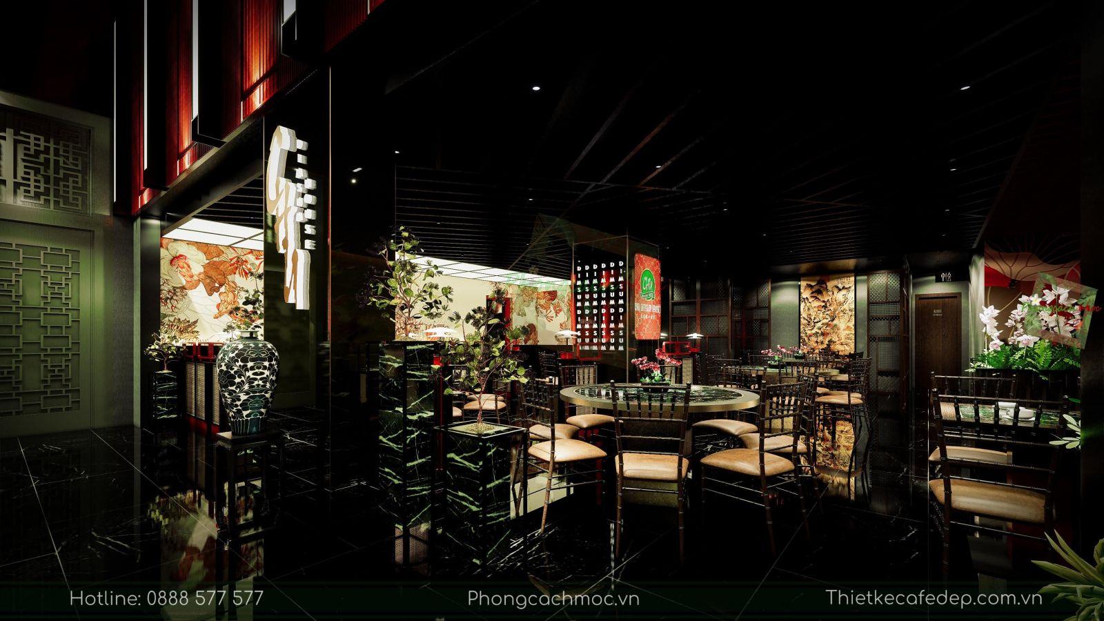 thiết kế nhà hàng trung hoa - nội thất tầng trệt