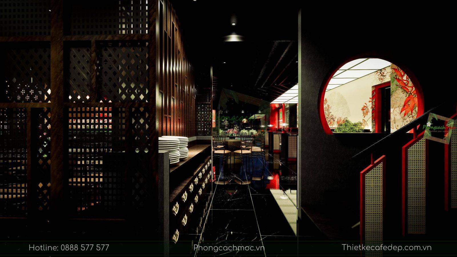 thiết kế nhà hàng trung hoa - nội thất tầng trệt - 2