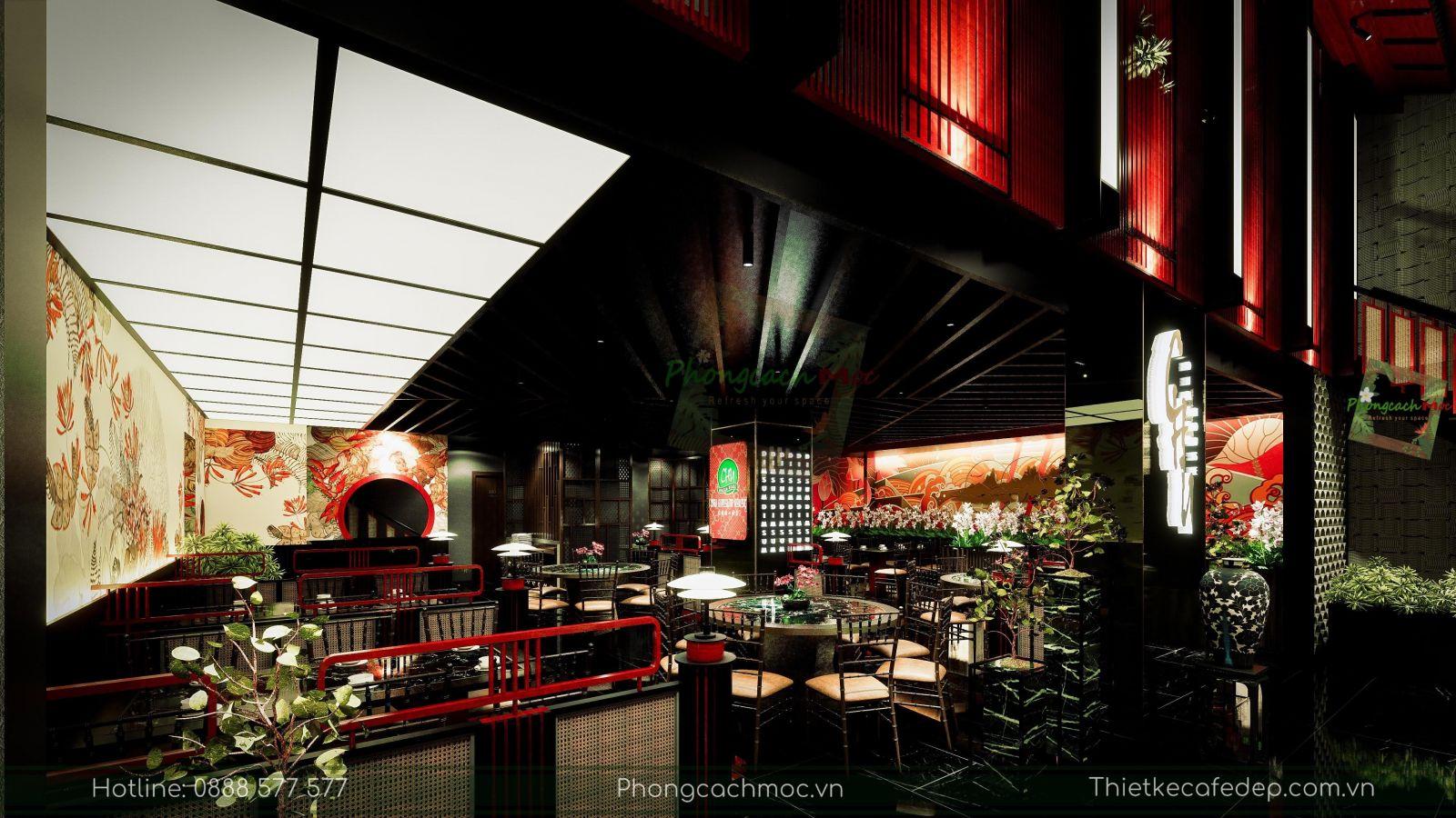 thiết kế nhà hàng trung hoa - không gian tầng trệt - nét văn hóa độc đáo - 9