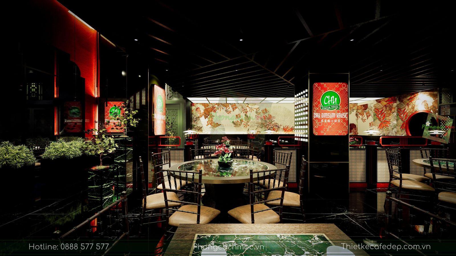 thiết kế nhà hàng trung hoa - không gian tầng trệt - nét văn hóa độc đáo - 2
