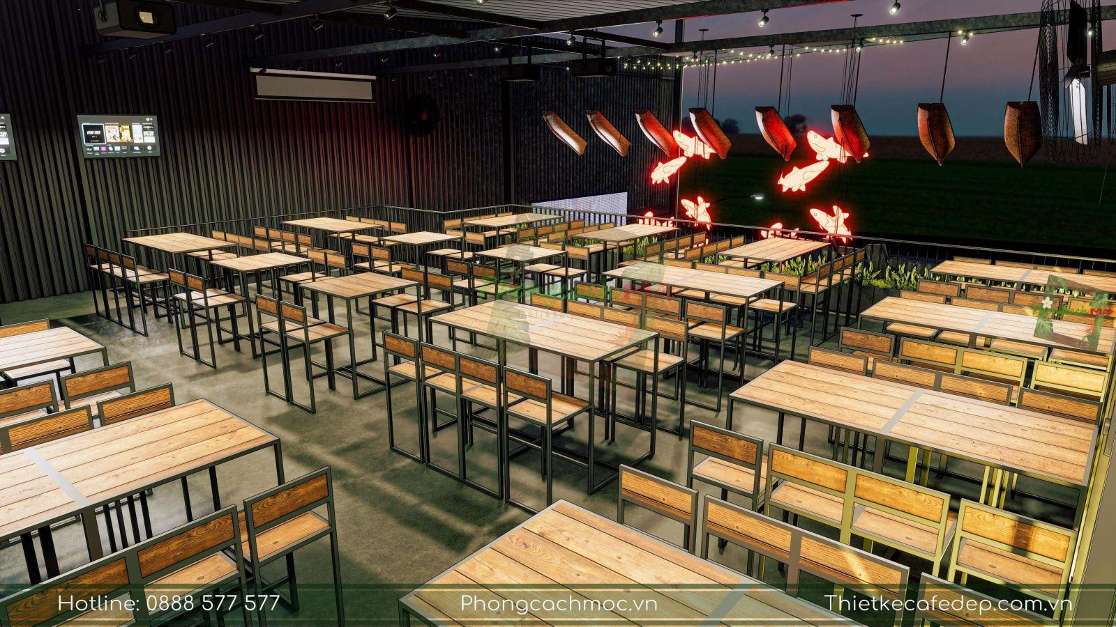 thiết kế sử dụng bàn ghế nội thất nhà hàng 5ku