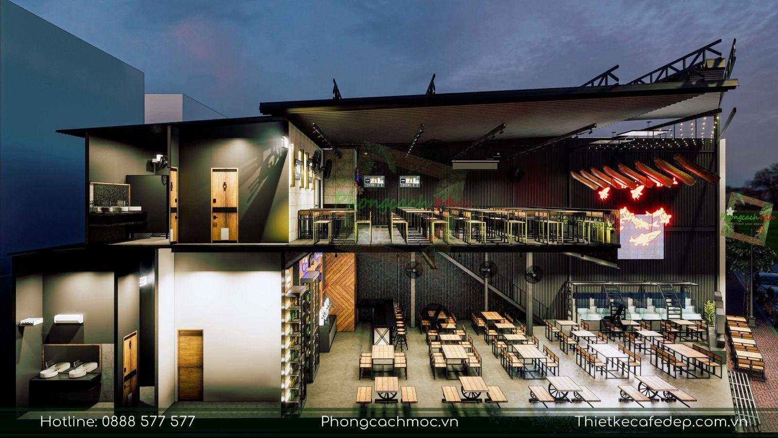 thiết kế nhà hàng 5ku food & beer tại quận 1