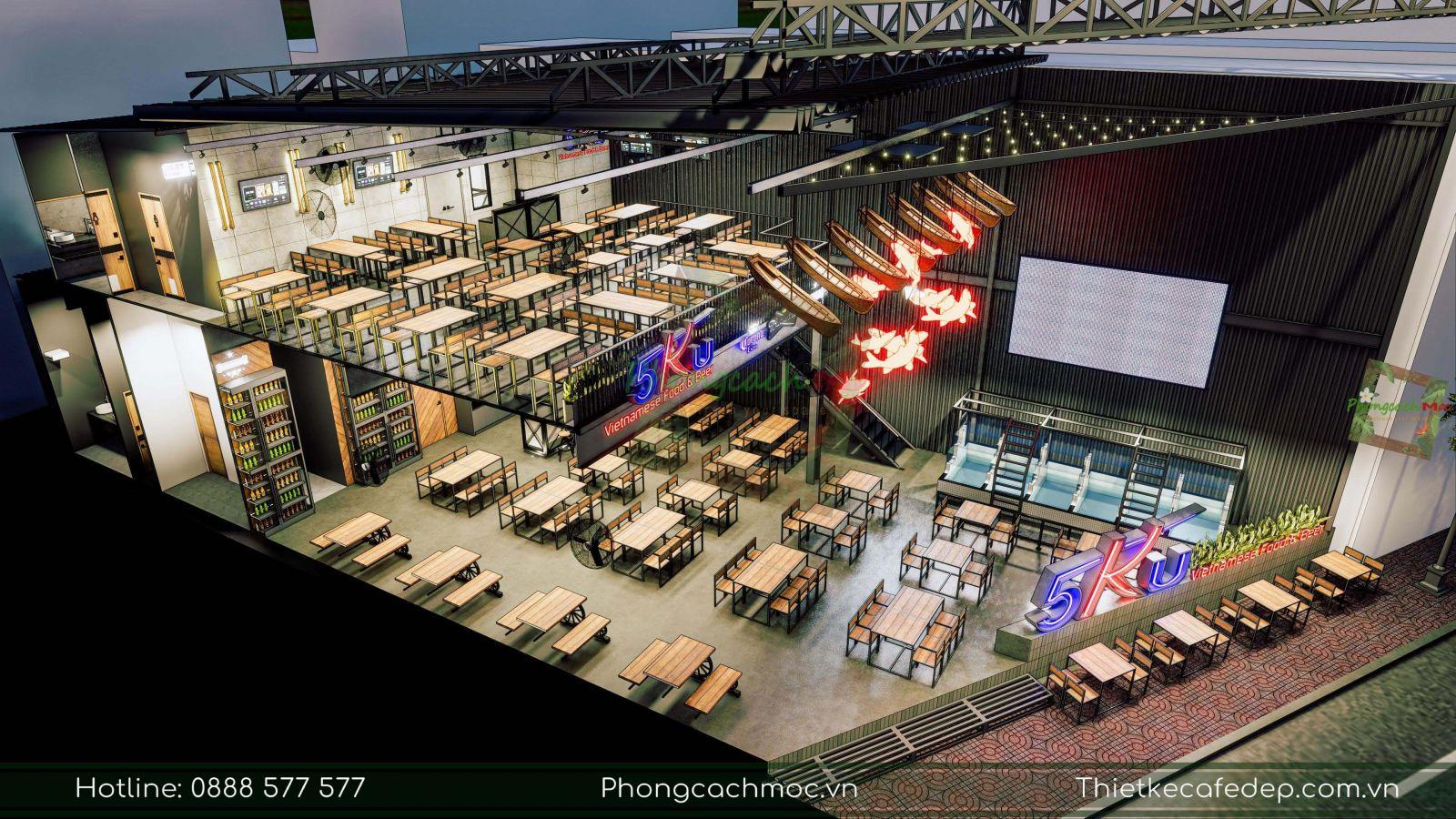 pcm thiết kế thi công trọn gói nhà hàng 5ku