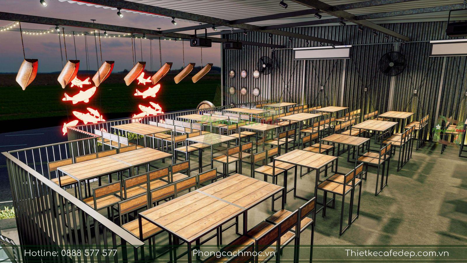 thiết kế sử dụng bàn ghế gỗ khung sắt cho nhà hàng