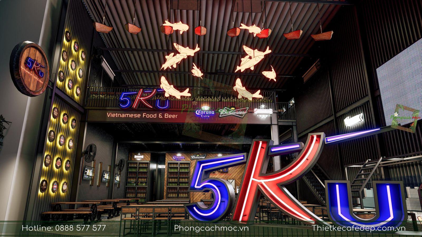 mẫu thiết kế nhà hàng 5ku sử dụng phong cách industrial