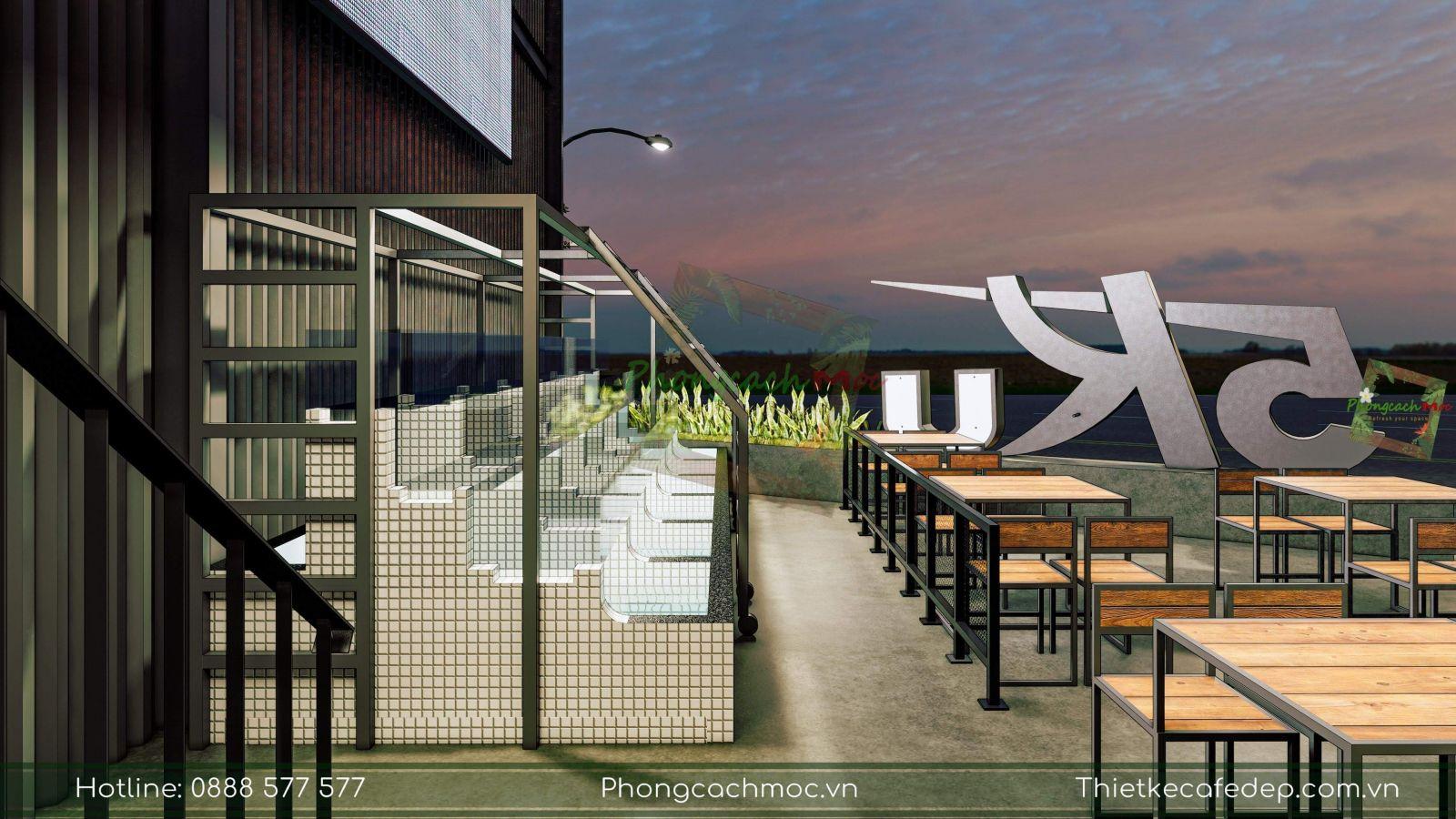 thiết kế không gian ngoài trời nhà hàng chủ đề industrial