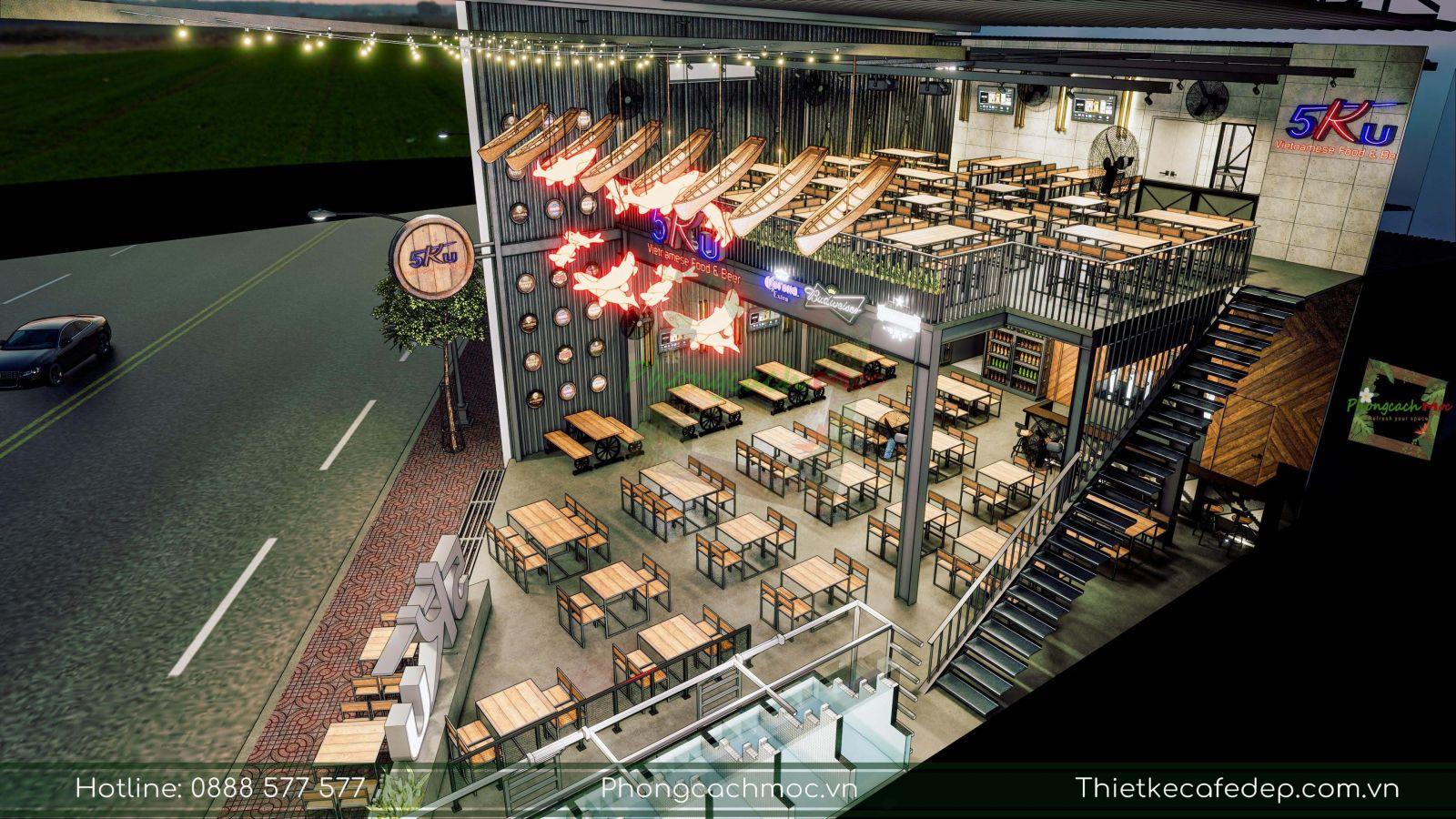 thiết kế 2 tầng nhà hàng 5ku tại quận 1 tphcm