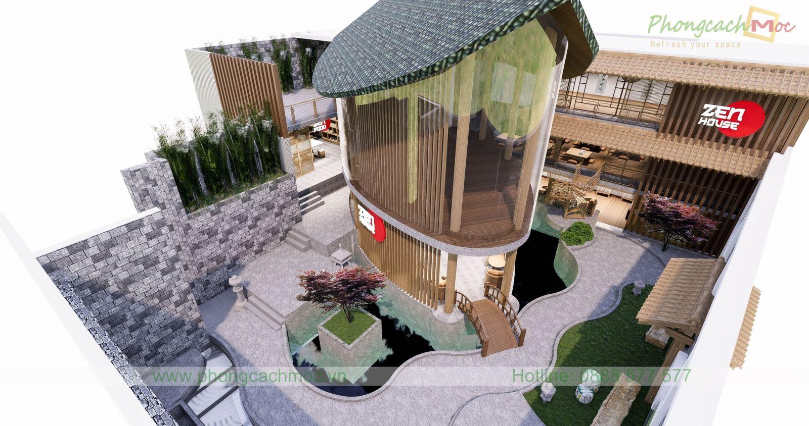 thiết kế nhà hàng chay zenhouse tại quận tân bình