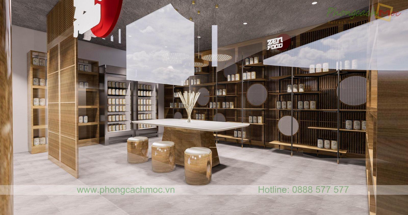 thiết kế phòng vip của nhà hàng chay với bàn nhóm