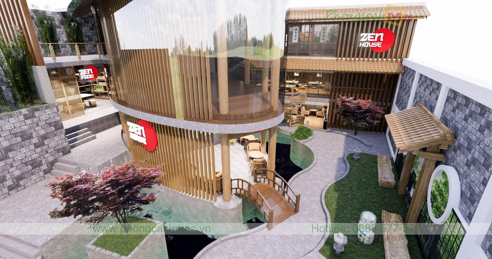 mẫu thiết kế nhà hàng chay zenhouse