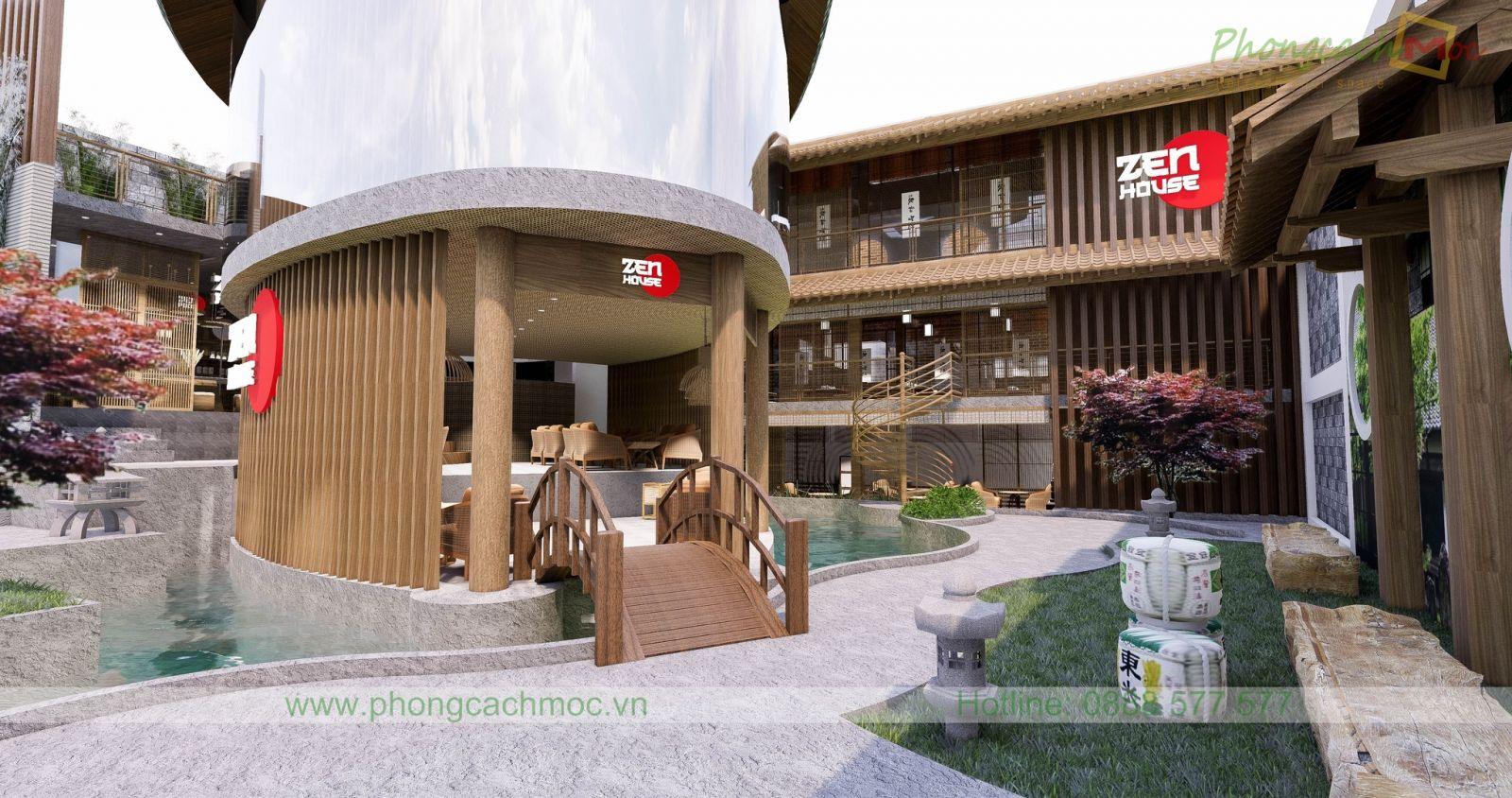 tổng thể không gian nhà hàng chay zenhouse