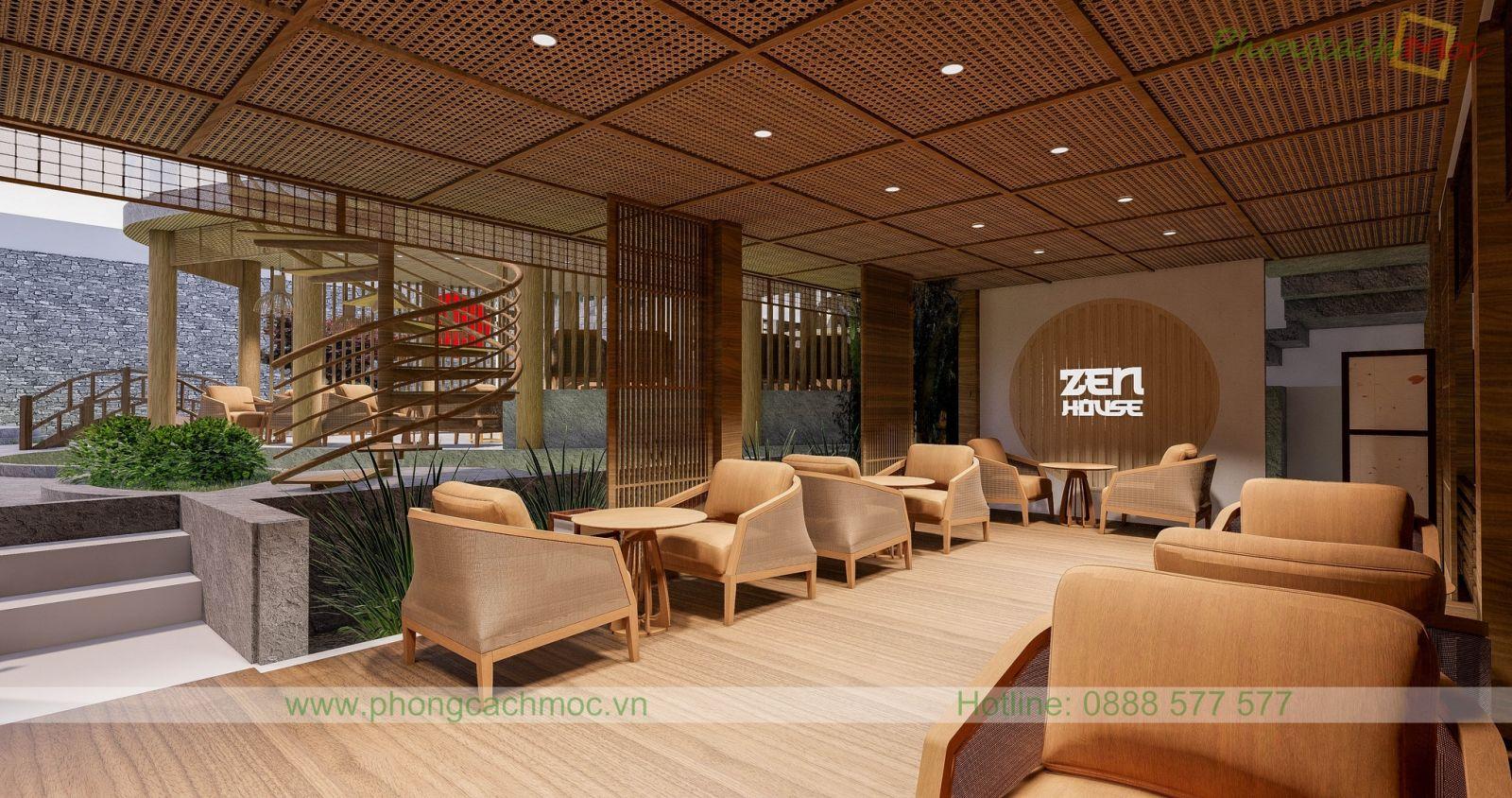 thiết kế bàn ghế nội thất hòa nhập tổng thể của nhà hàng chay phong cách nhật bản