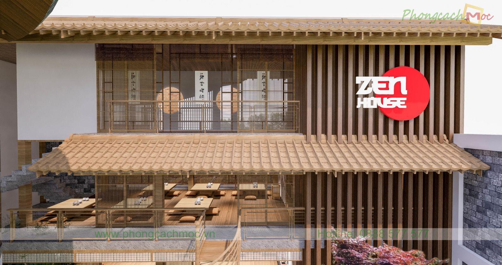 thiết kế phối cảnh nhà hàng chay zenhouse