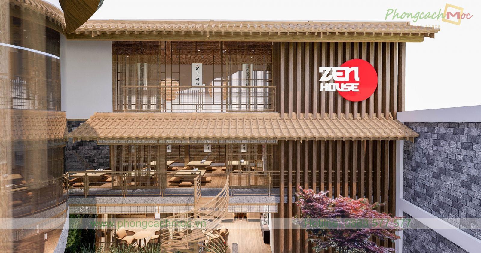 thiết kế 3 tầng của nhà hàng chay