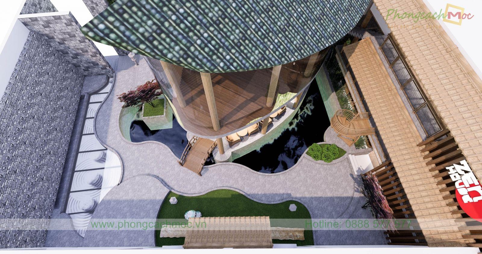 không gian nhà hàng zenhouse từ trên cao