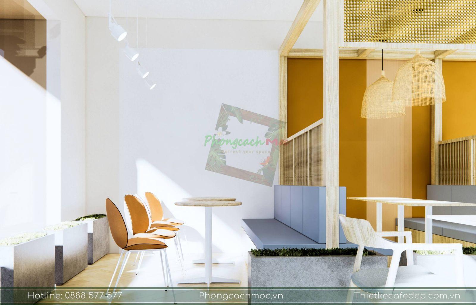 chủ đề thiết kế quán cafe hiện đại tận dụng nguồn ánh sáng tự nhiên