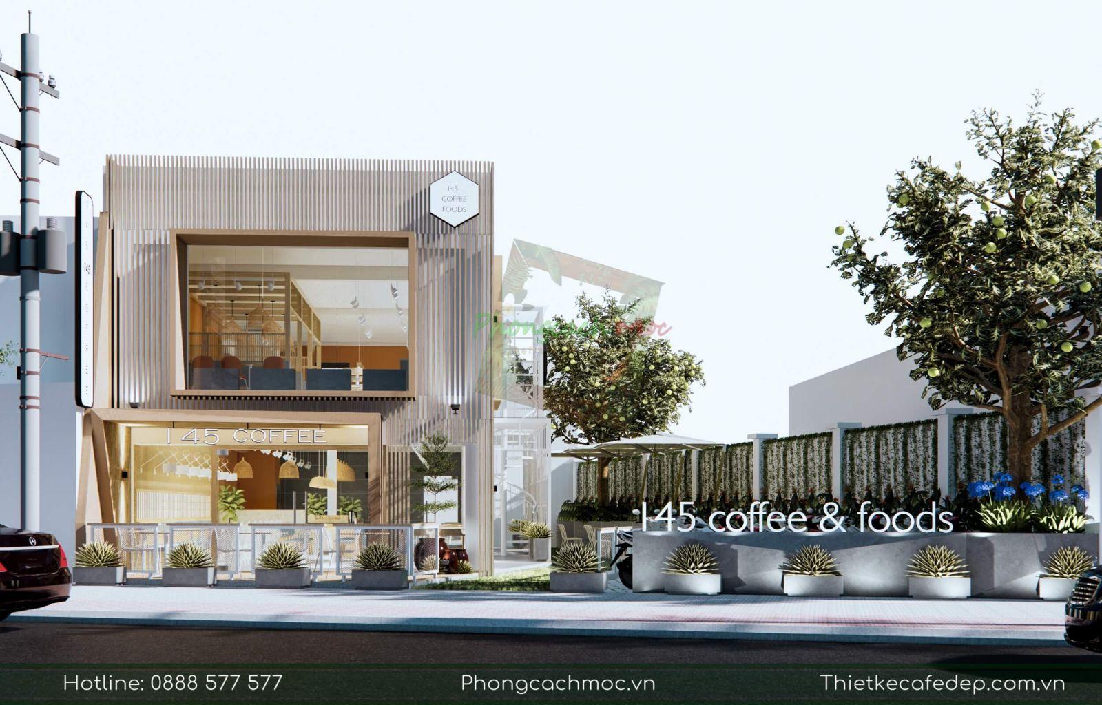 thiết kế quán cafe 145 coffee