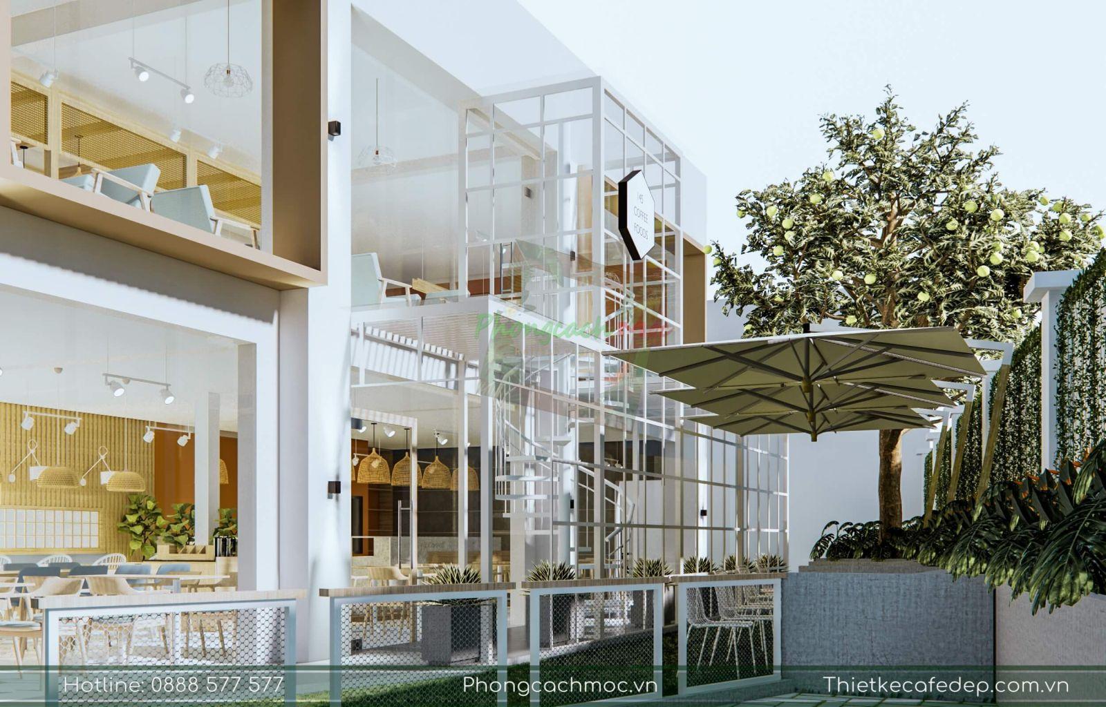 mẫu thiết kế quán cafe hiện đại 2 tầng